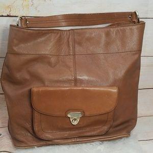 Banana Republic tan leather shoulder bag handbag